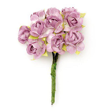 Хартиени рози за декорация 20мм, 12 бр. - бяло с лилало