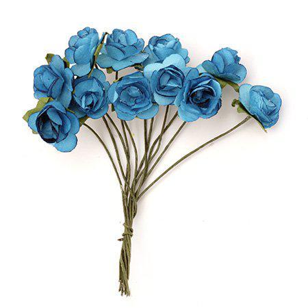 Хартиени рози за декорация 15мм, 12 бр. - турски синьо