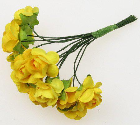 Хартиени рози за декорация 15мм, 12 бр. - жълто тъмно