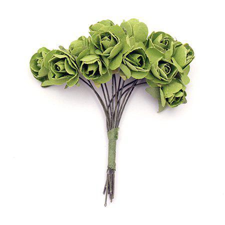 Хартиени рози за декорация 15мм, 12 бр. - зелено тревисто