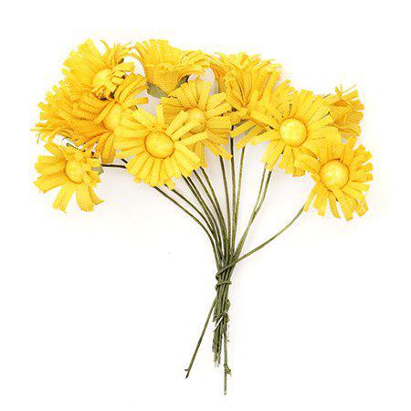 Хартиени цветя за декорация 20мм, 12 бр. - маргаритка жълта
