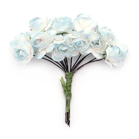 Хартиени рози за декорация 15мм, 12 бр. - бяло със синьо