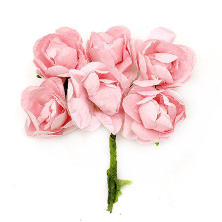 Хартиени рози за декорация 30мм, 6 бр. - светло розово