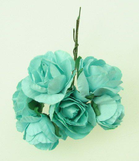 Хартиени рози за декорация 30мм, 6 бр. - светло тюркоазено