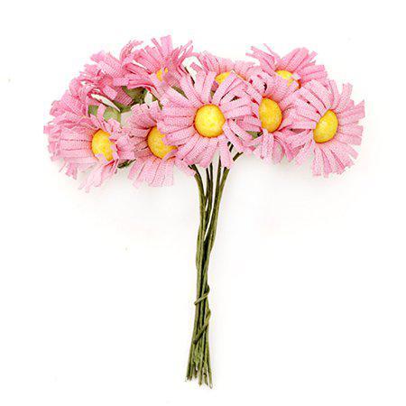Хартиени цветя за декорация 20мм, 12 бр. - маргаритка розова
