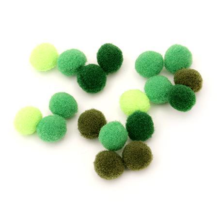 Помпони 1см - зелена гама - 20бр