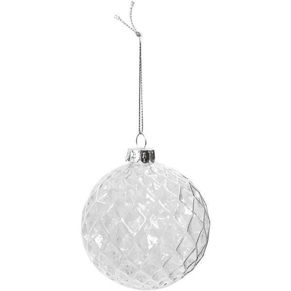 Фасетирана стъклена топка за елха - 8 см дебелостенна