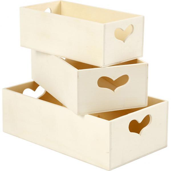 Дървен поднос със сърце 16х8х5,5см - малък