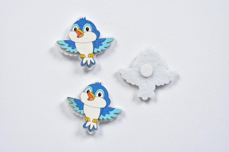 Птичка синя от дърво и филц самозалепваща 4х3,5 см - 3 бр