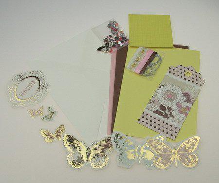 Комплект за направа на 3 броя картички 11.5x17 см Butterfly