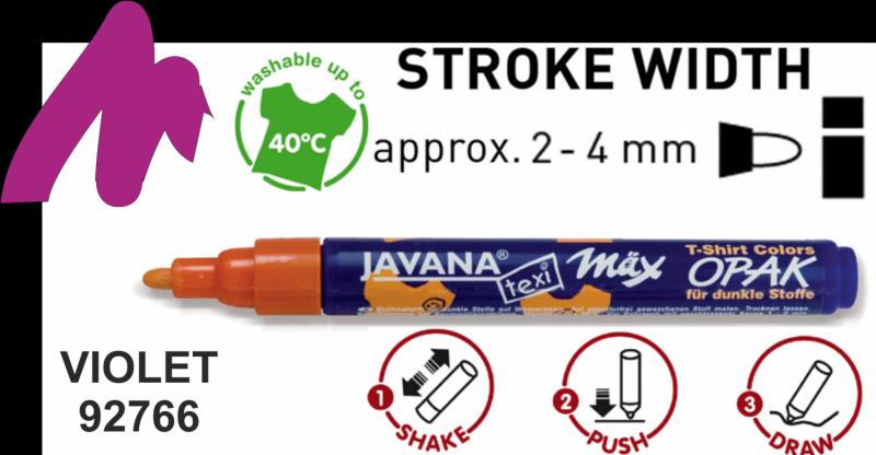 Виолетов маркер за тъмен текстил Javana 2-4 мм