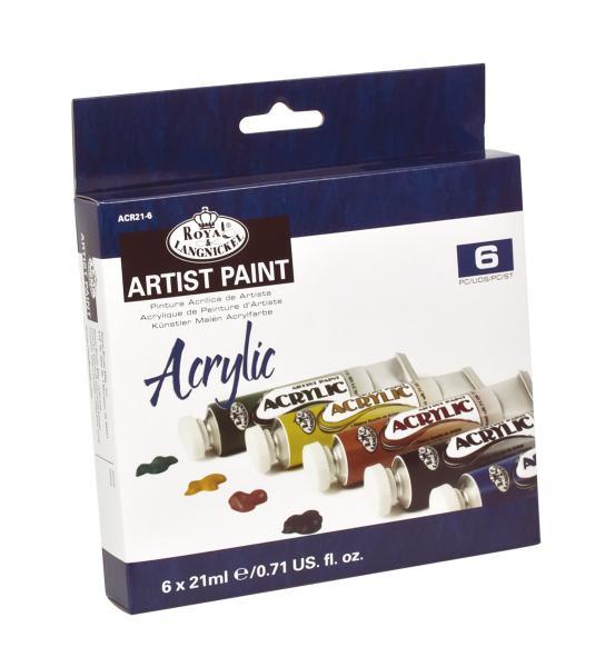 Комплект 6 броя акрилни бои Royal Langnickel