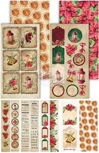 Комплект дизайнерски хартии 15х30 см, 5 листа - Festive Bells