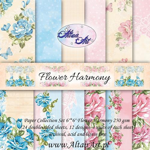 Комплект дизайнерски хартии 24 листа 6х6 in - Flower Harmony