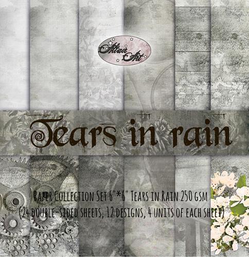 Комплект дизайнерски хартии 24 листа 6х6 in - Tears in Rain