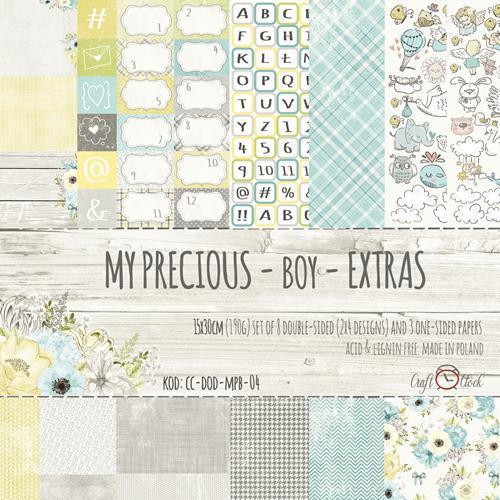 Комплект дизайнерски хартии 15х30 см, 11 листа - My Precious Boy Extras