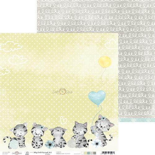 Двустранна дизайнерска хартия 190гр - My cat friend 3