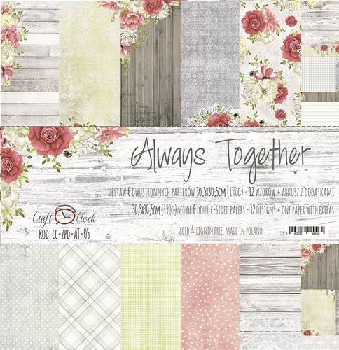Комплект дизайнерски хартии 6 листа 12x12 inch - Always Together