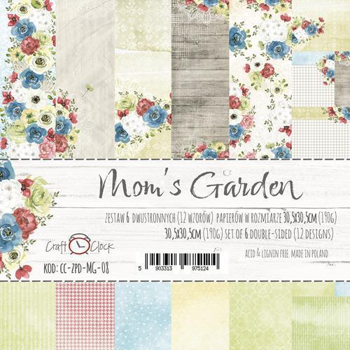 Комплект дизайнерски хартии 6 листа 12x12 inch - Mom's Garden