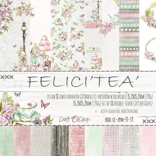 Комплект дизайнерски хартии 6x6 inch, 18 листа 190гр - FELICI'TEA