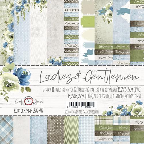 Комплект дизайнерски хартии 18 листа 6x6 inch - Ladies&Gentlemen