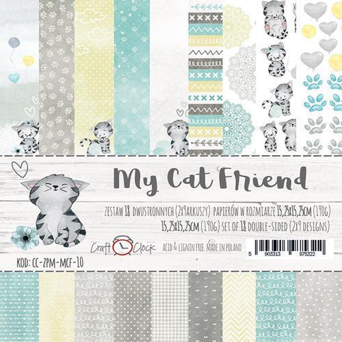 Комплект дизайнерски хартии 18 листа 6x6 inch - My Cat Friend