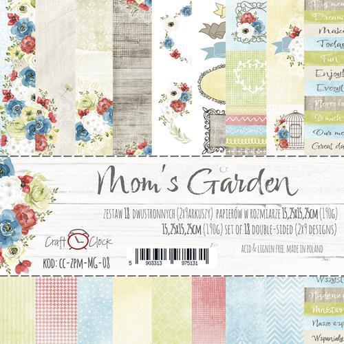 Комплект дизайнерски хартии 6x6 inch, 18 листа - Mom's Garden