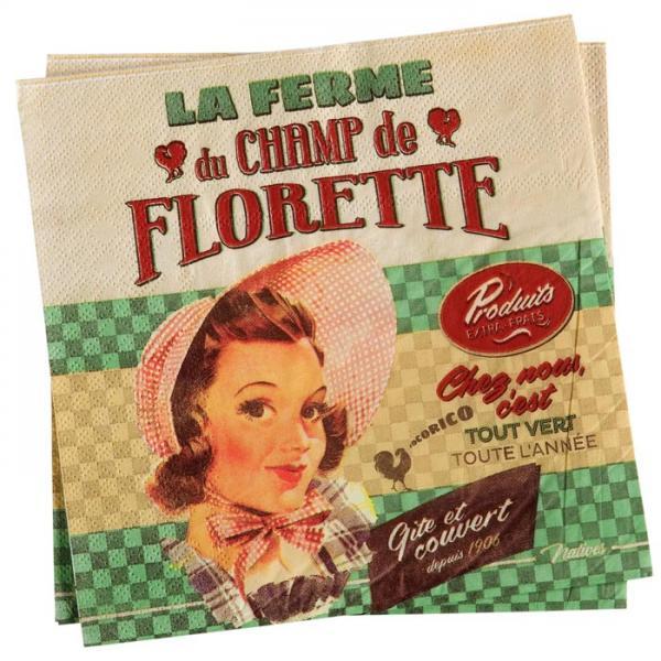 Пакет 20 бр салфетки-NATIVES 33 см х 33 см - Champ de Florette