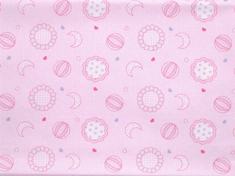 Памучен плат Cottone Stamp Kinder лунички на розов фон 50 х 50 см