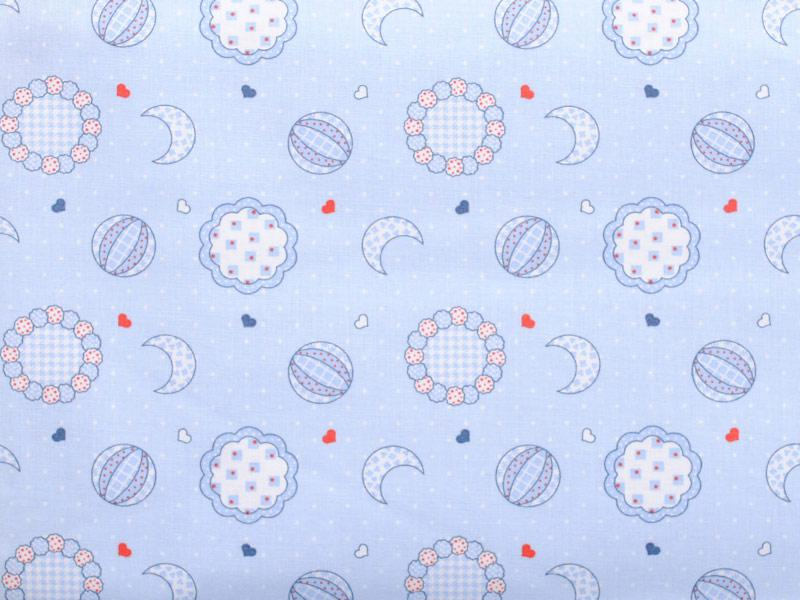 Памучен плат Cottone Stamp Kinder лунички на син фон 50 х 50 см