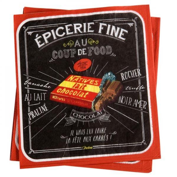 Пакет 20 бр салфетки-NATIVES 33 см х 33 см - Coup de food Chocolat