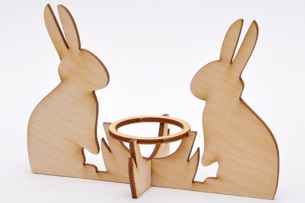 Дървена поставка за яйце Зайци