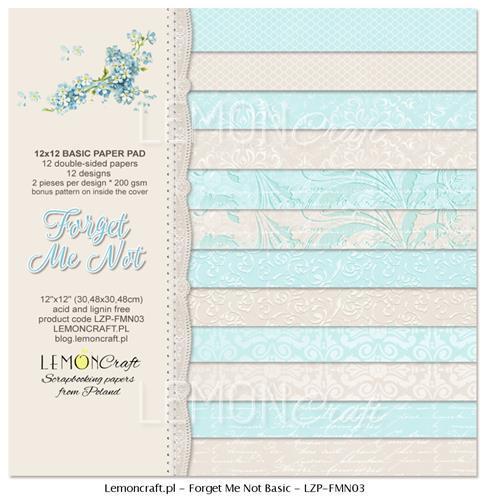 Комплект дизайнерски хартии 12 листа 12х12 in - Forget Me Not
