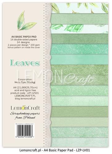 Комплект дизайнерски хартии А4, 14 листа - Leaves