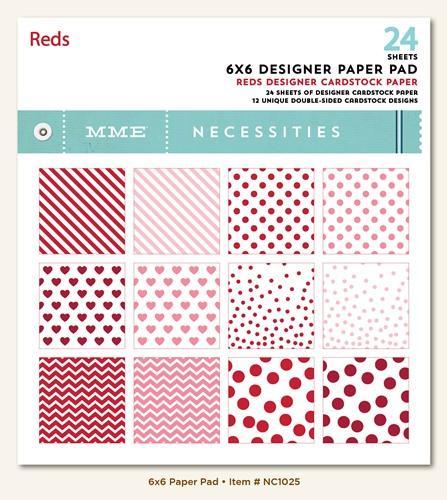 Дизайнерски блок, 6х6 инча 24 листа - Necessities Collection - Reds