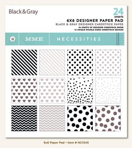 Дизайнерски блок, 6х6 инча 24 листа - Black & Gray