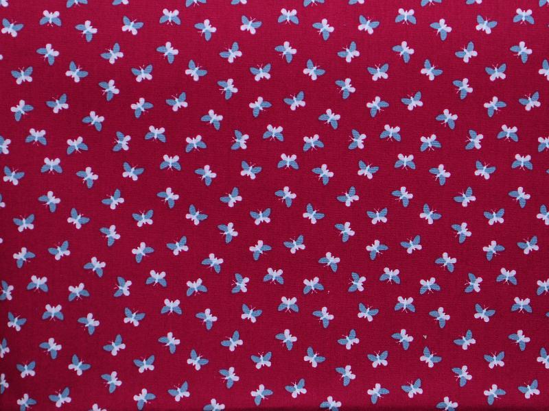 Памучен  плат   Printed Oeko Tex Пеперуди на червен фон  - 50 х 50 см