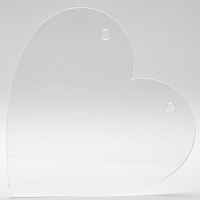 Плексигласово сърце - табелка с 2 дупки - 15х15,5 см