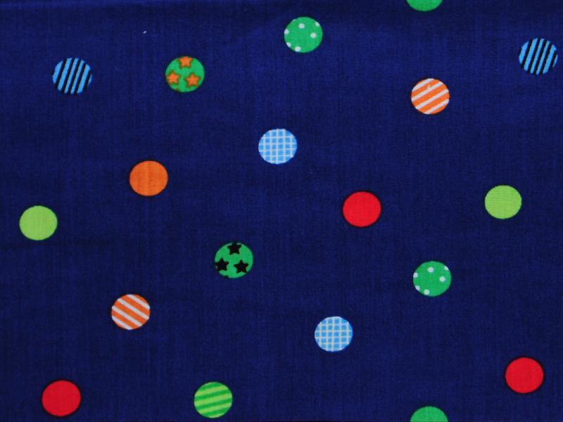 Памучен плат Poplin  Шарени точки на тъмносин фон 50 х 50 см