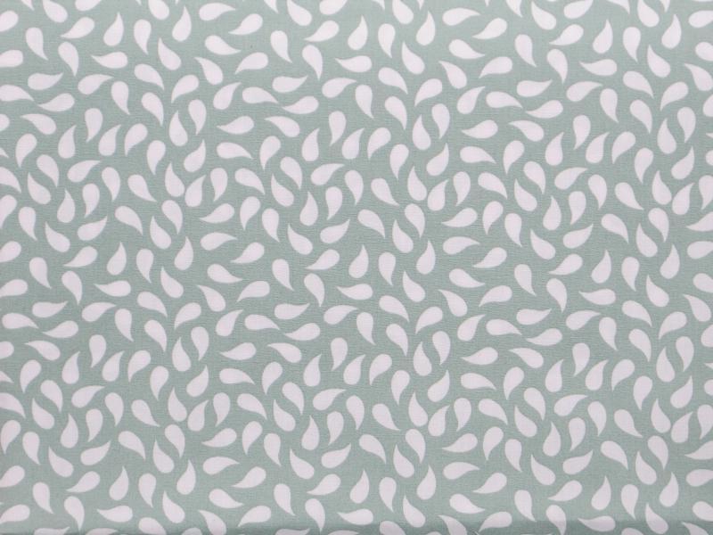 Памучен плат Poplin  бели капки на зеленикав фон - 50 х 50 см