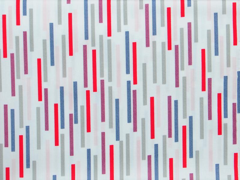 Памучен плат Poplin Лилаво червени линии на бял фон - 50 х 50 см