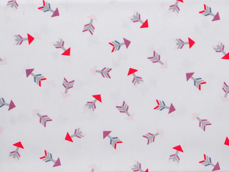 Памучен плат Poplin Лилаво-червени стрелички на бял фон - 50 х 50 см