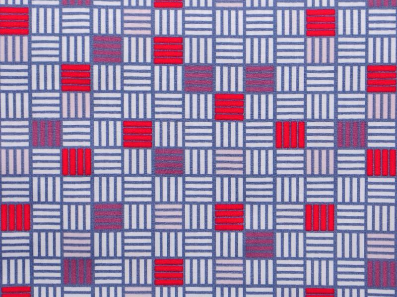 Памучен плат Poplin  Лилави, червени и бели квадрати - 50 х 50 см