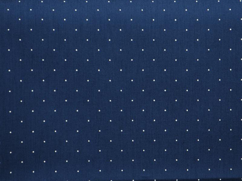 Памучен  плат  Poplin бели точки на тъмно син фон 50 х 50 см