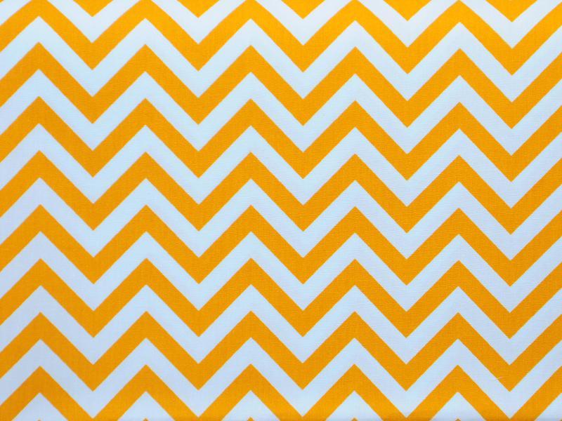 Памучен плат Poplin бяло-жълт зигзаг 50 х 50 см