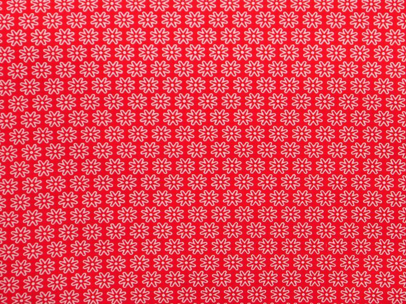 Памучен  плат Poplin червен на ситни бели цветенца 50 х 50 см