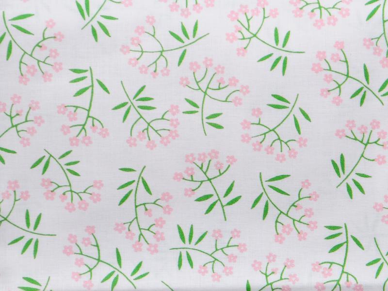 Памучен  плат Poplin  Karina  Цветя на бял фон 50 х 50 см