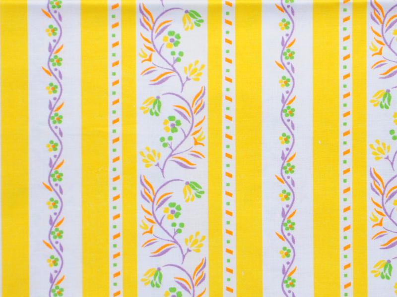Памучен  плат Poplin Karina  Жълто-бяло рае на цветя 50 х 50 см
