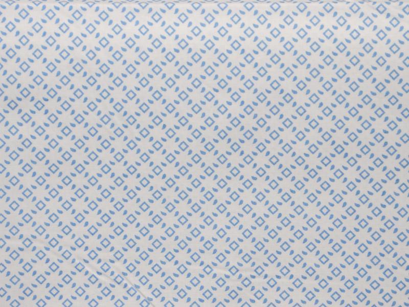 Памучен  плат Poplin  Karina  Сини квадрати на бял фон 50 х 50 см