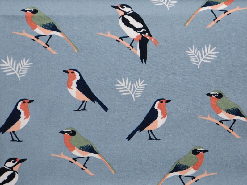 Памучен  плат Poplin птички с клонки на син фон 50 х 50 см